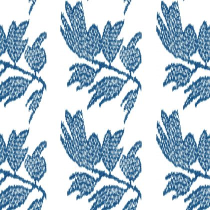 Nine Muses Ikat Leaf Indigo Fabric