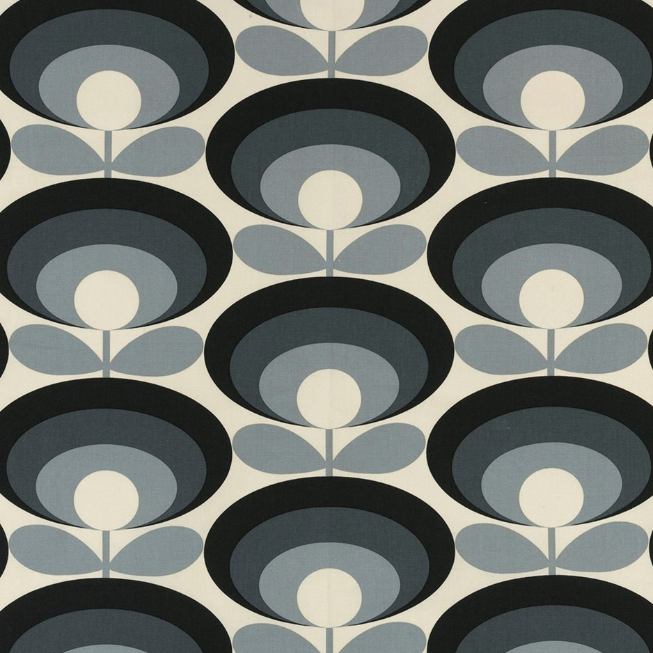 Orla Kiely Seventies Flower Cool Grey fabric