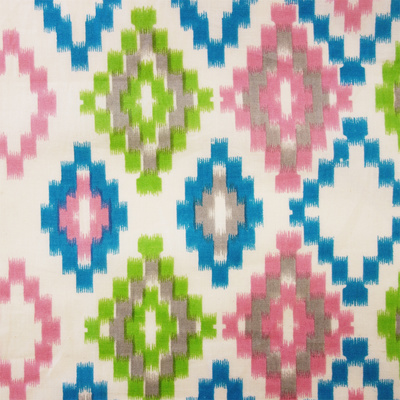 West Weave Block Print - Cerulean/Pink/Lime