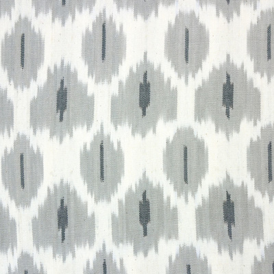 Flowers on Water Ikat Fabric - Dove Grey