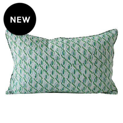 Cefalu Emerald Linen Cushion - 35cm x 55cm