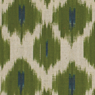 Flowers on Water Ikat Fabric - Parrot