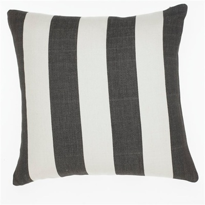 Awning Stripe Charcoal Cushion Cover - 50cm